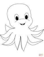 Cute Cartoon Octopus coloring page   Free Printable ...