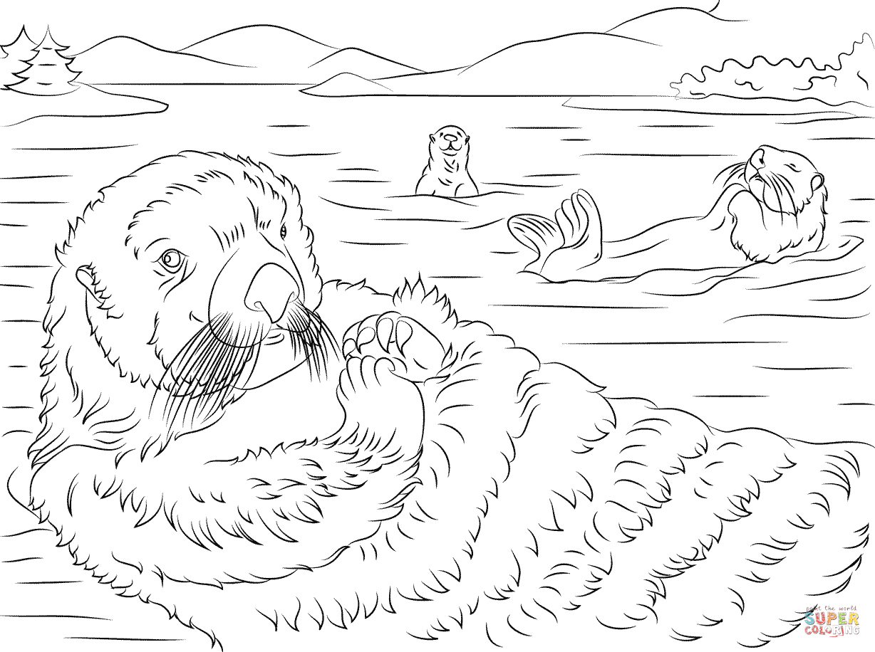 Cute Sea Otters Coloring Page