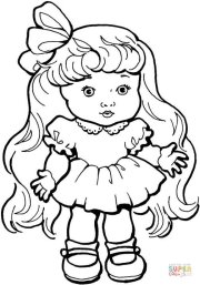 baby girl doll with long hair coloring