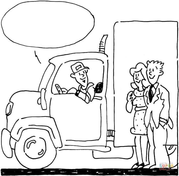 Dibujo de El Conductor habla con una Pareja de Jóvenes
