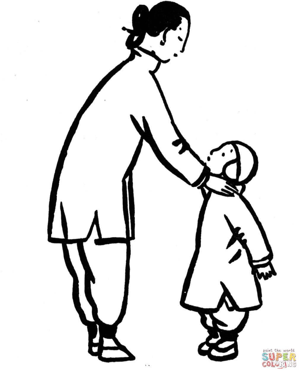 mama con hijo caricatura imgenes para colorear dibujo de