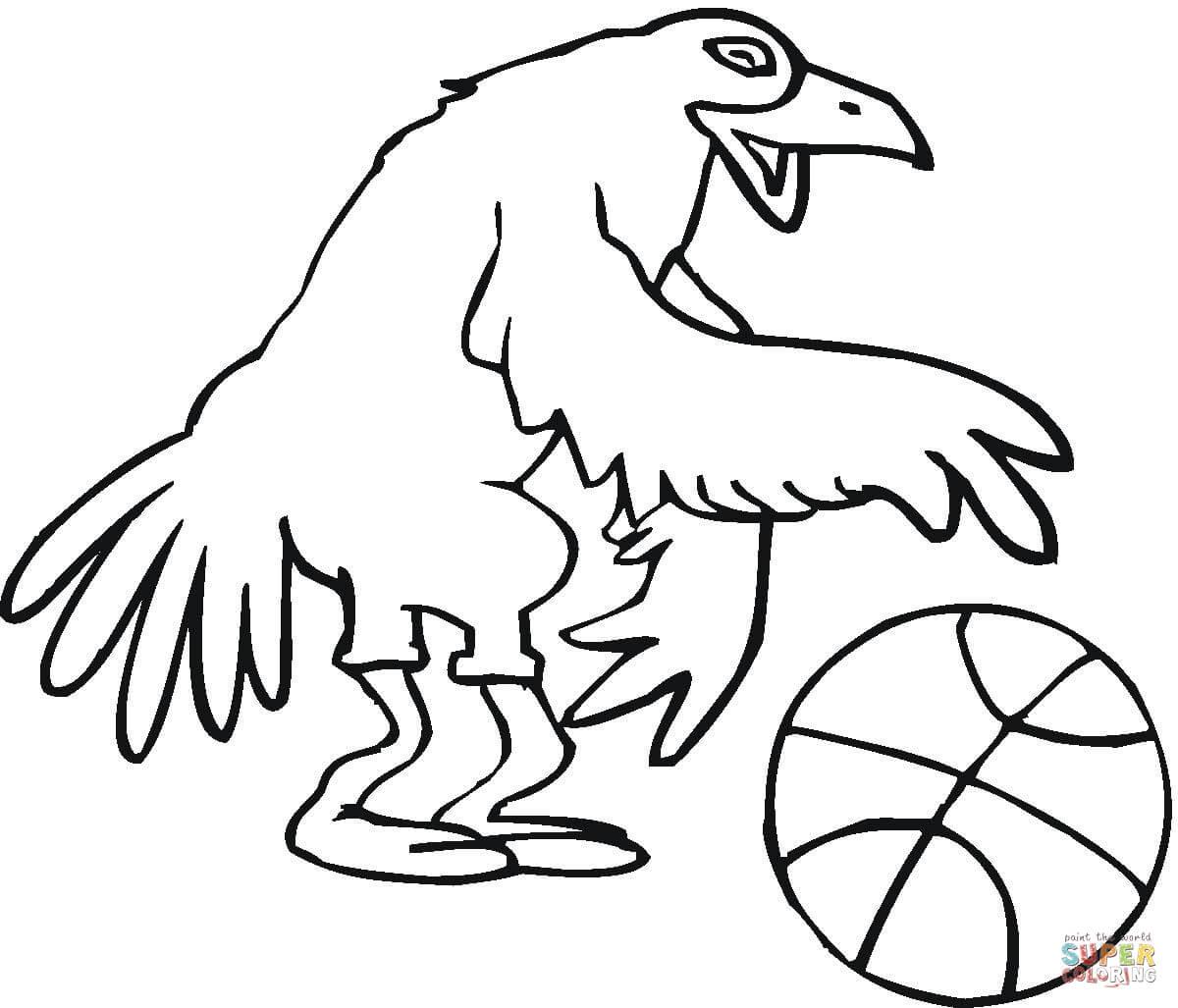 Dibujo de Pájaro Jugando al Baloncesto para colorear