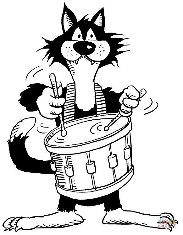 Ausmalbild Katze mit Trommel Ausmalbilder kostenlos zum