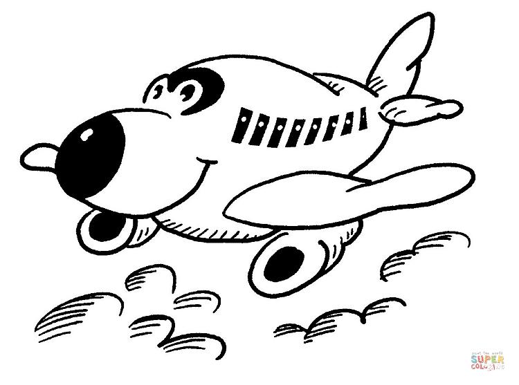 행복한 작은 비행기 색칠하기