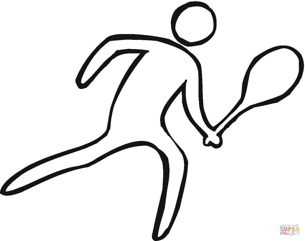 Disegno di Uomo con racchetta da tennis da colorare