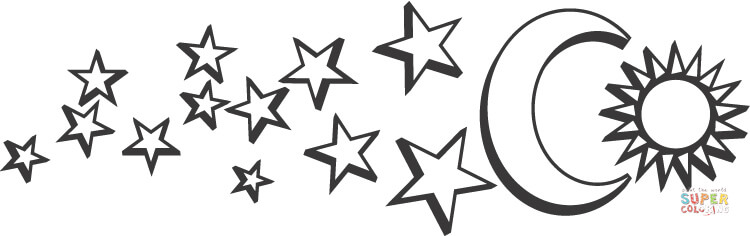 moon sun and stars coloring page  free printable