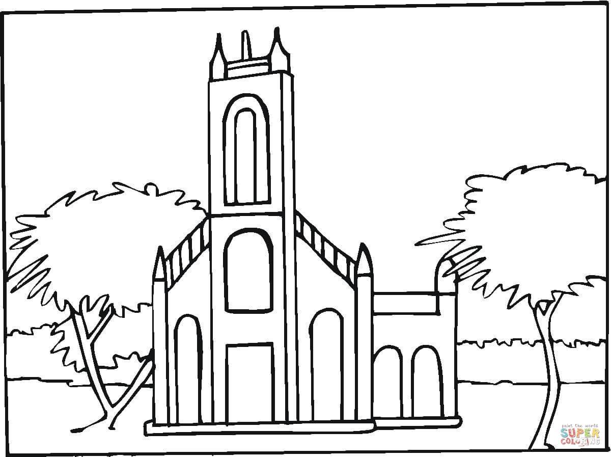 Dibujo De Abadia En La Ciudad Para Colorear