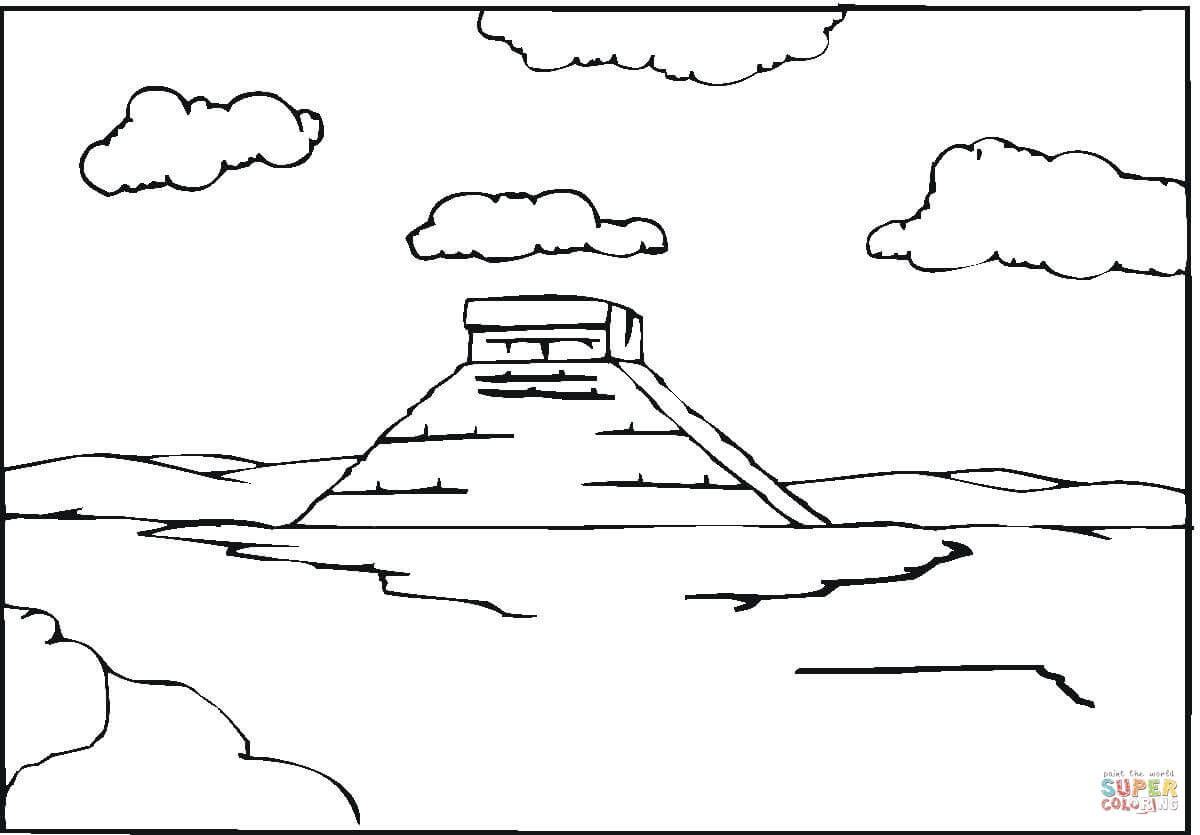 Pyramid In The Clouds coloring page Free Printable