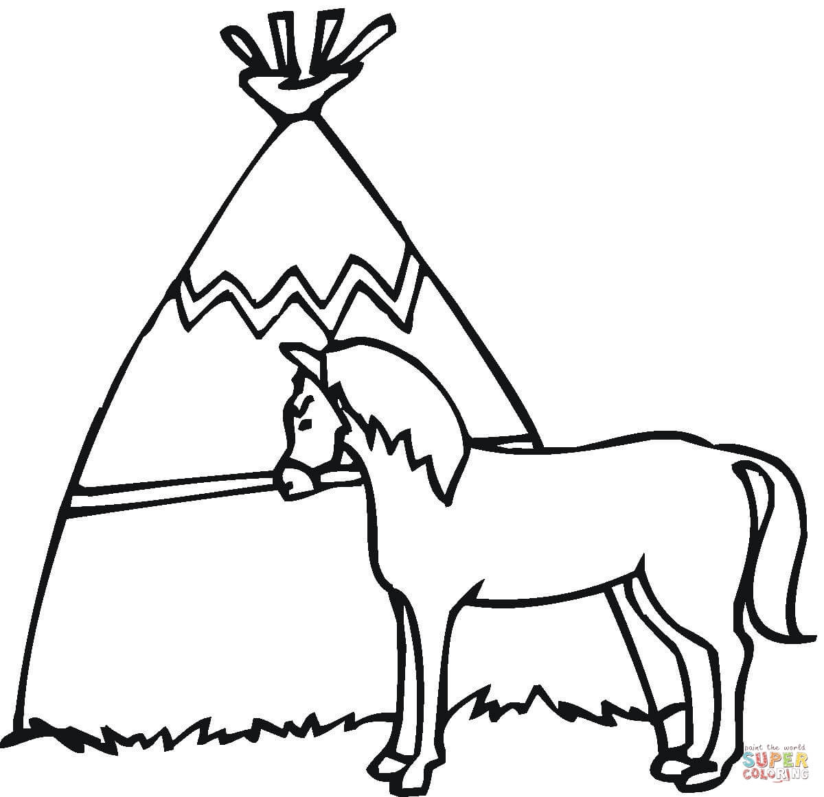 Wigwam With The Horse Coloring Page