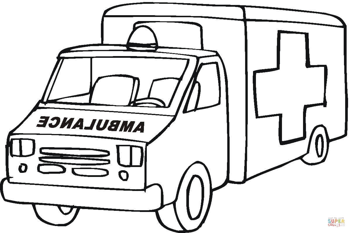 Ambulance Emergency Car Coloring Page