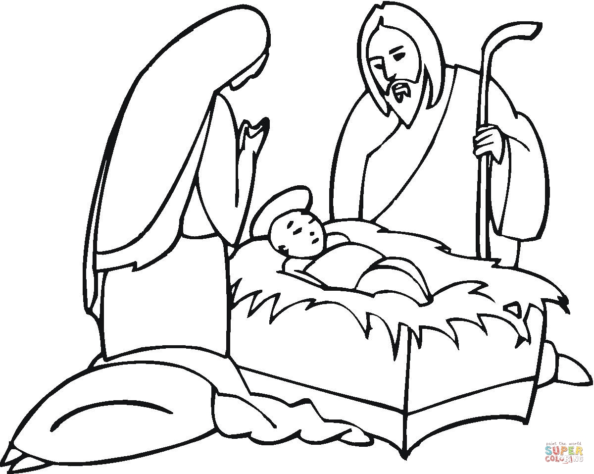 Joseph And Maria Near Little Jesus Coloring Page