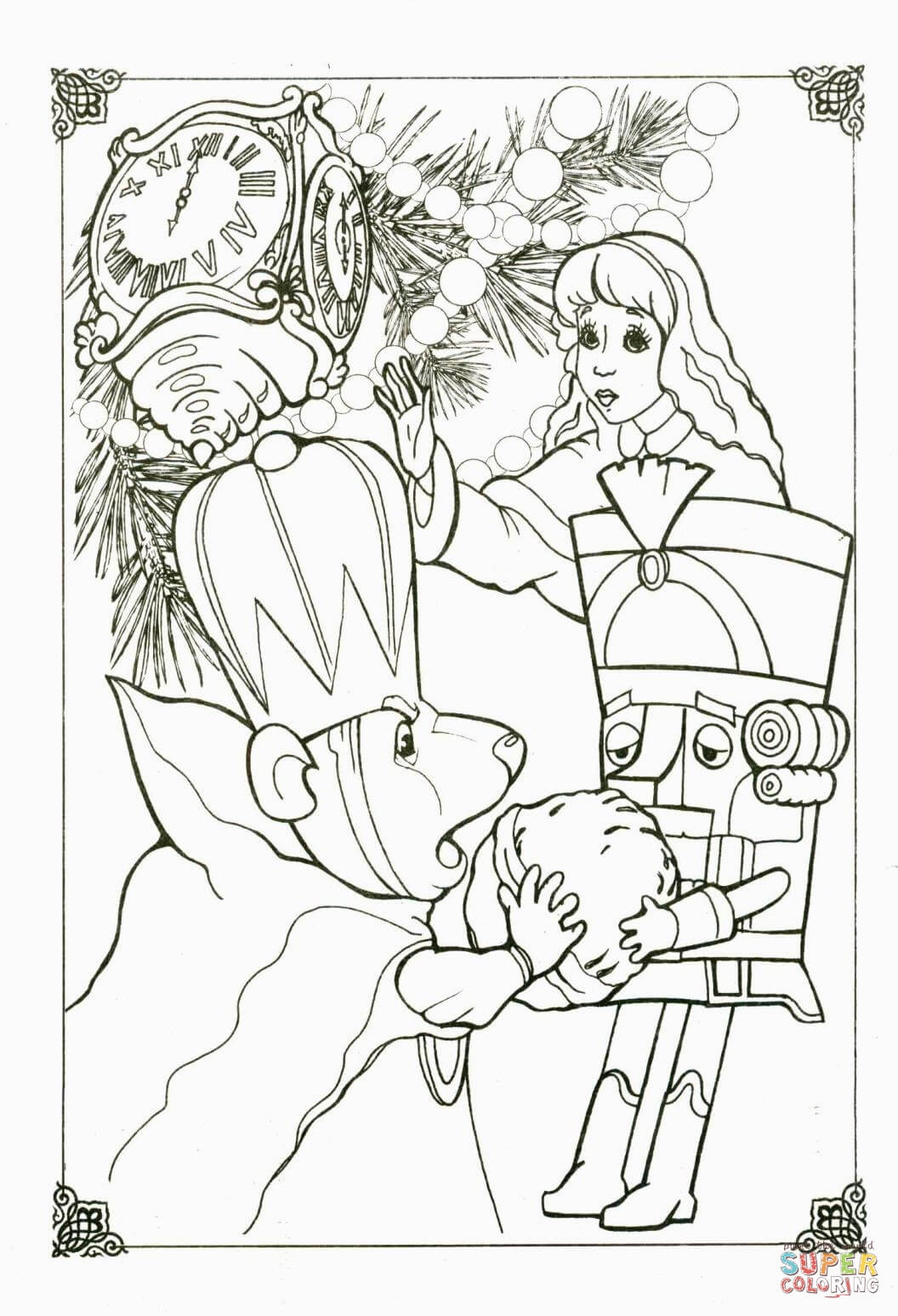 King Mouse Nutcracker And Little Girl Marie Coloring Page