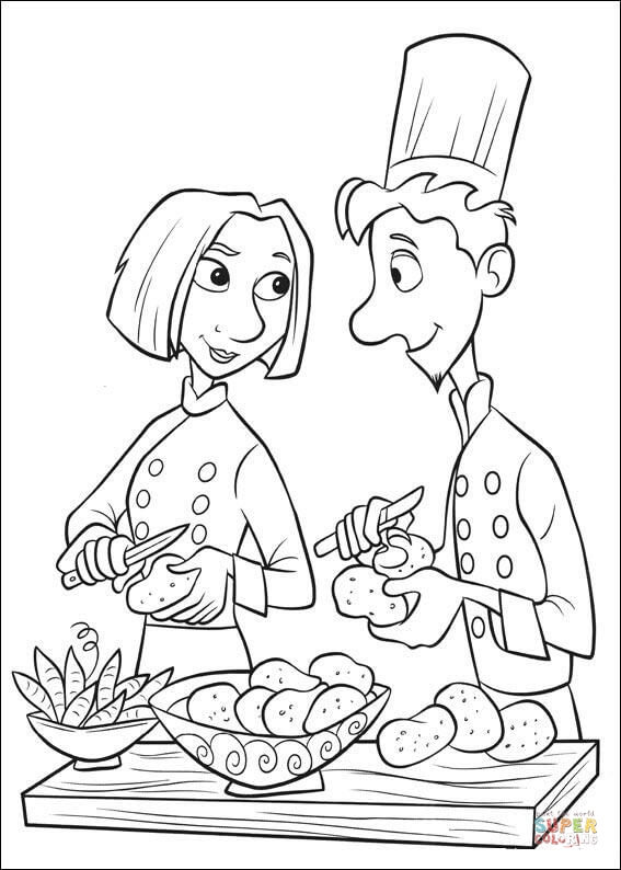 Linguini And Colette Are Making Tasty Fries coloring page