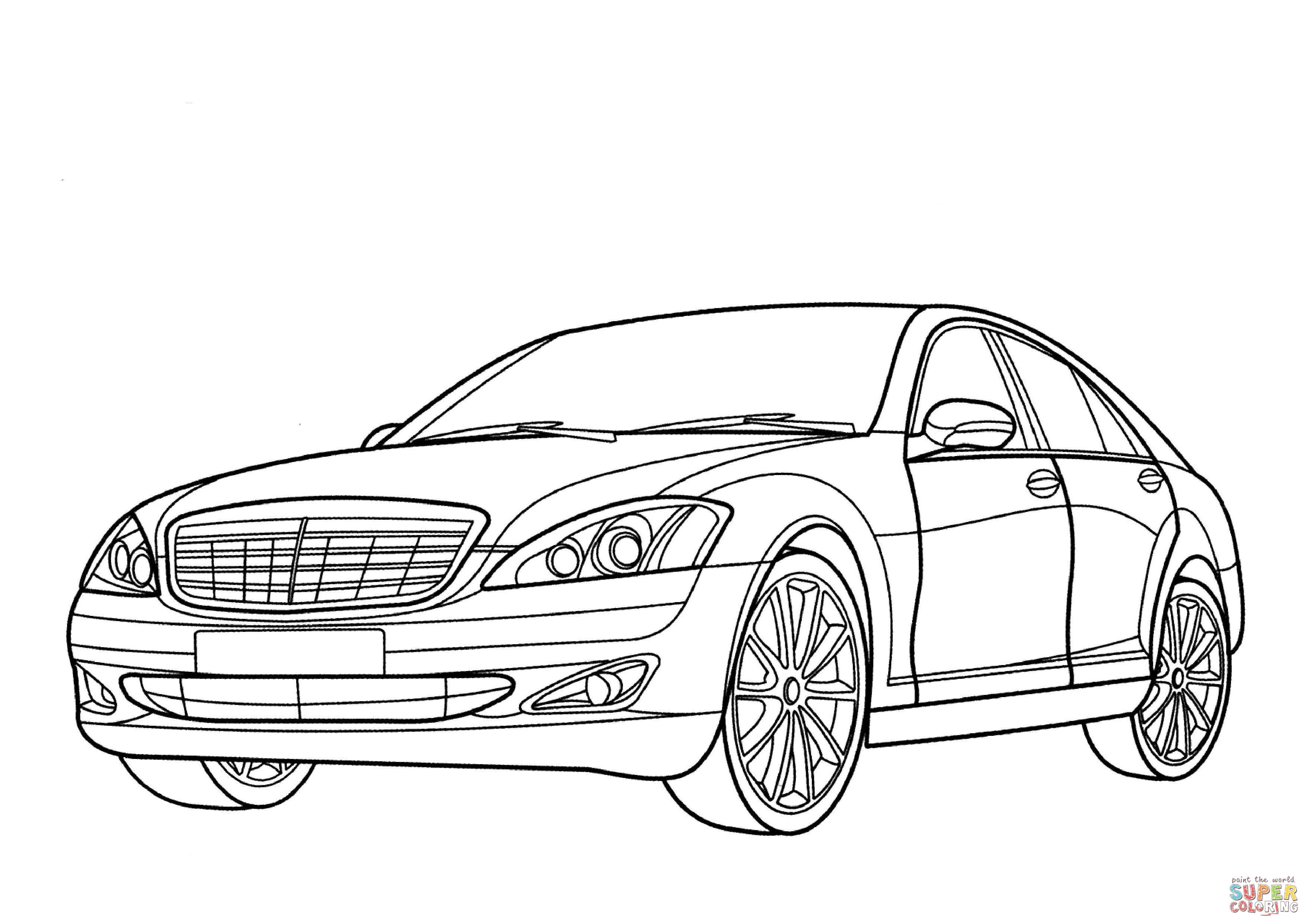 Ausmalbild Mercedes Benz S Klasse
