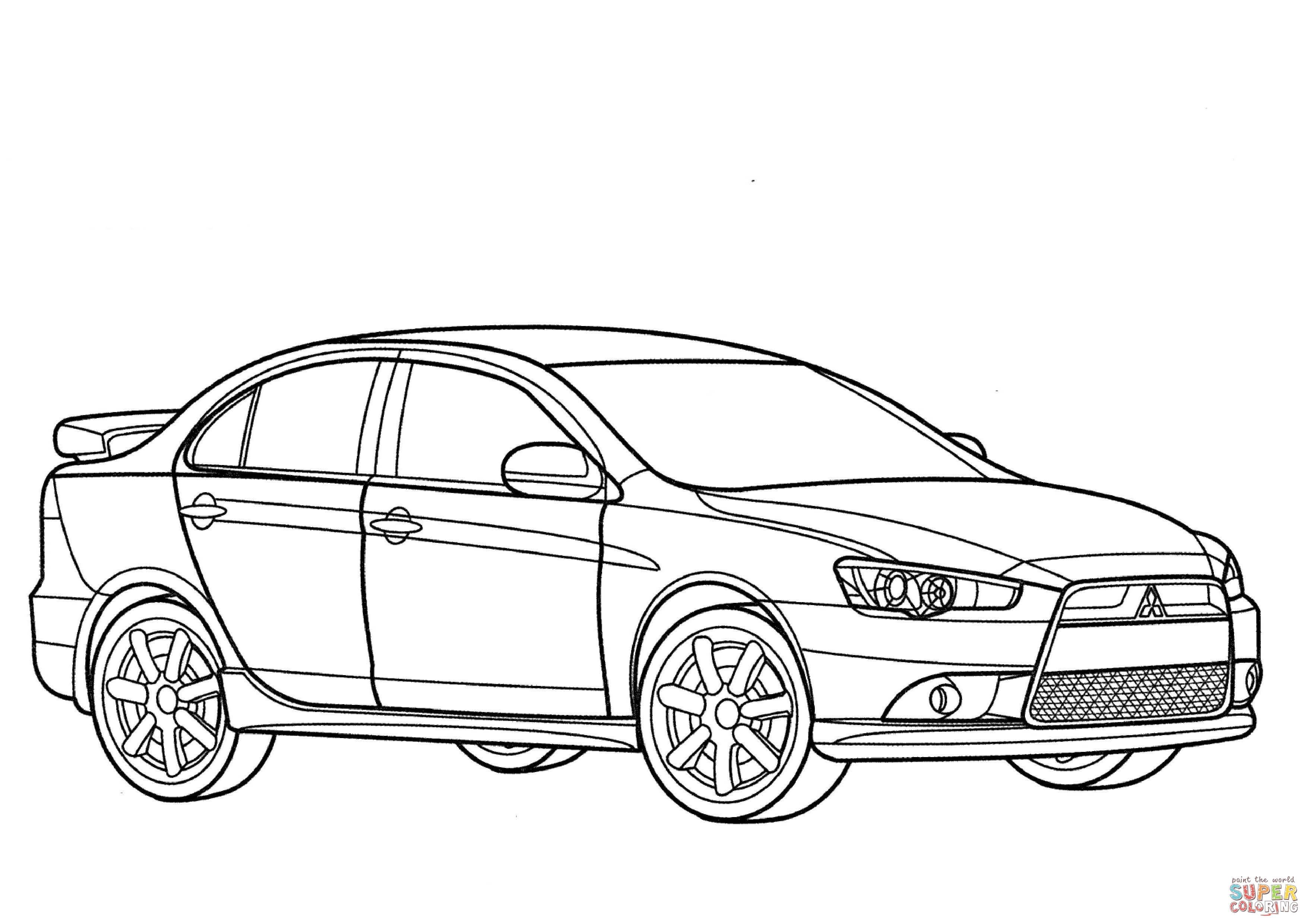 Desenho de Mitsubishi Lancer Ralliart para colorir