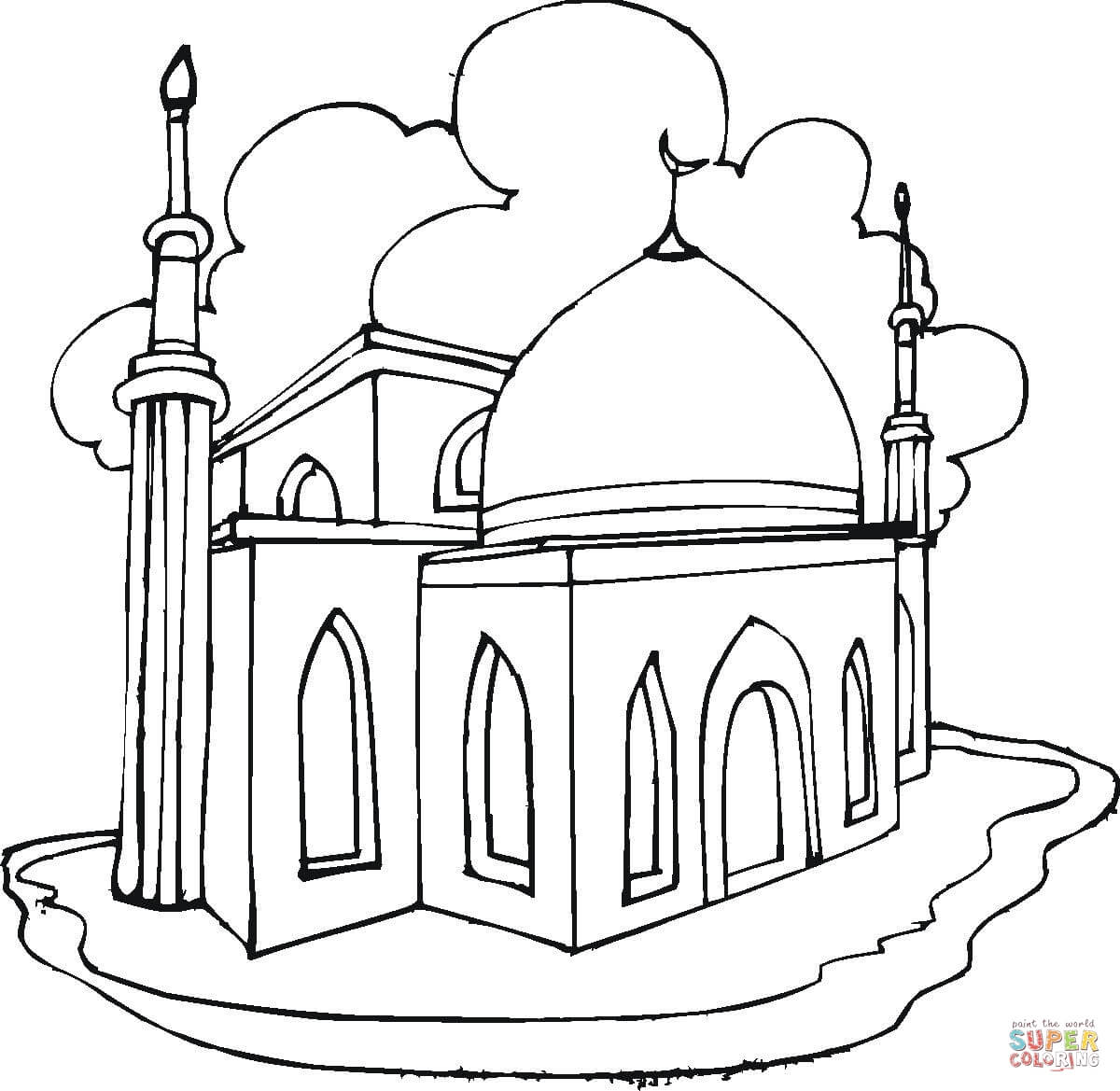 Mosque Coloring Page