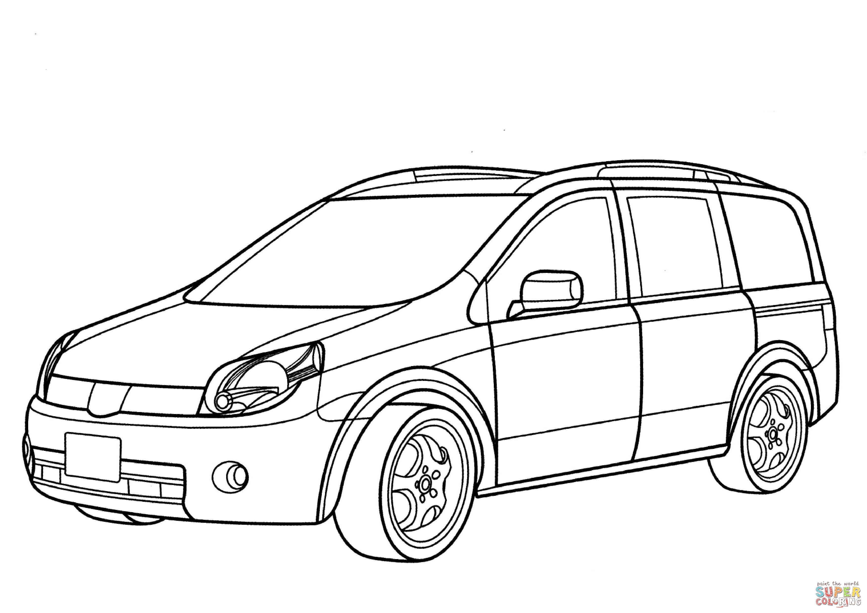 Dibujo De Nissan Lafesta Minivan Para Colorear