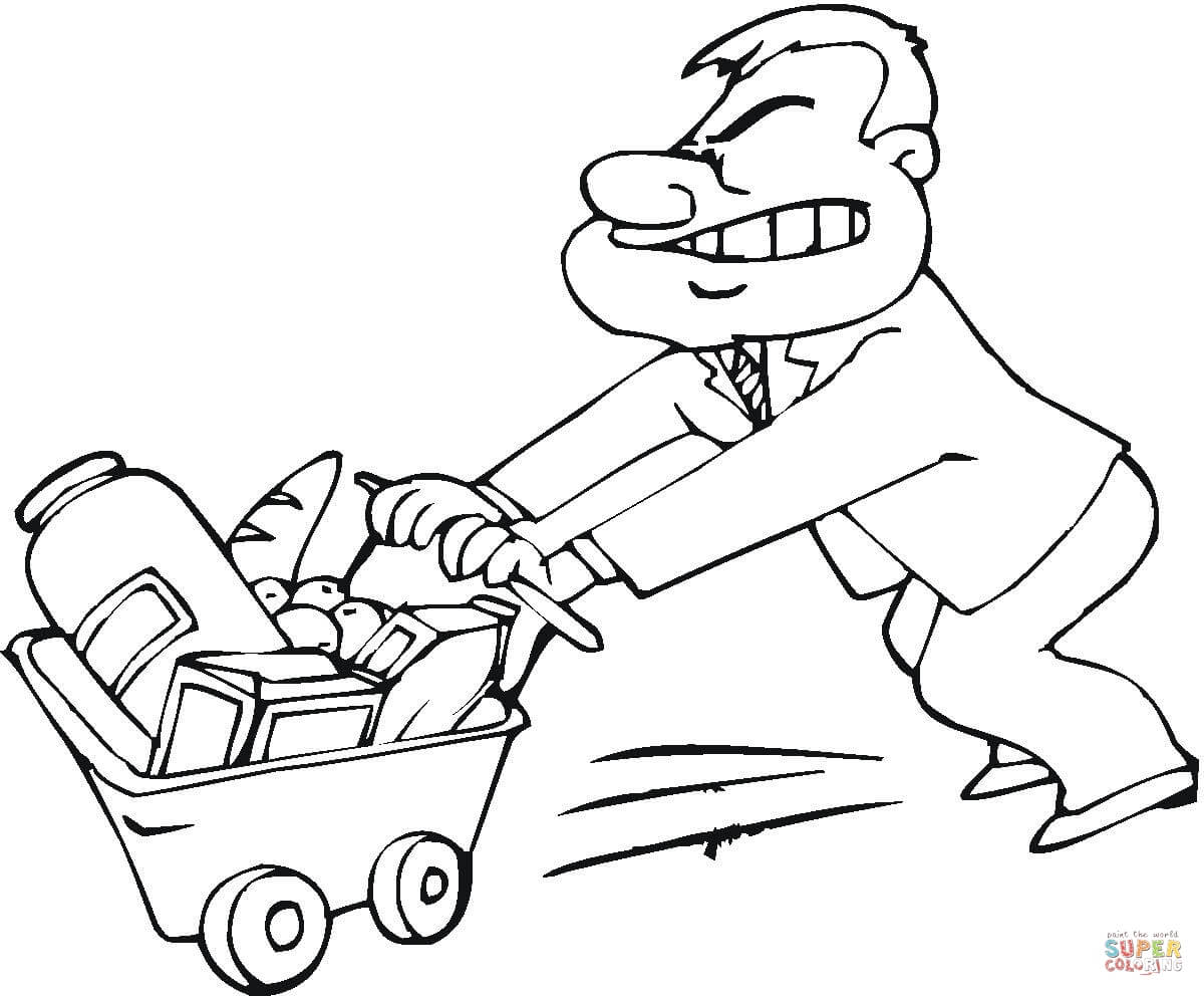 Pushing Handcart Coloring Page