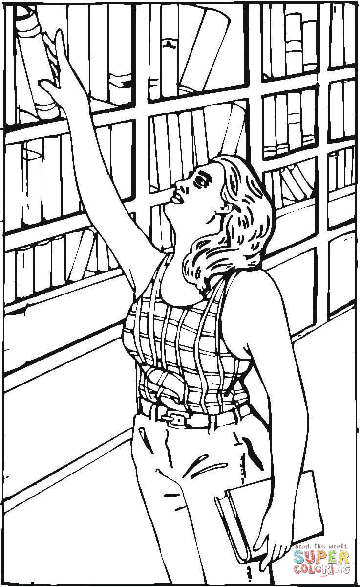 reaching for a book in the library coloring page  free