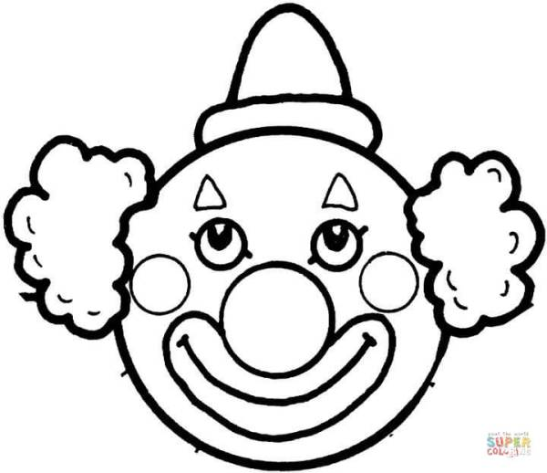 clown's face coloring page free