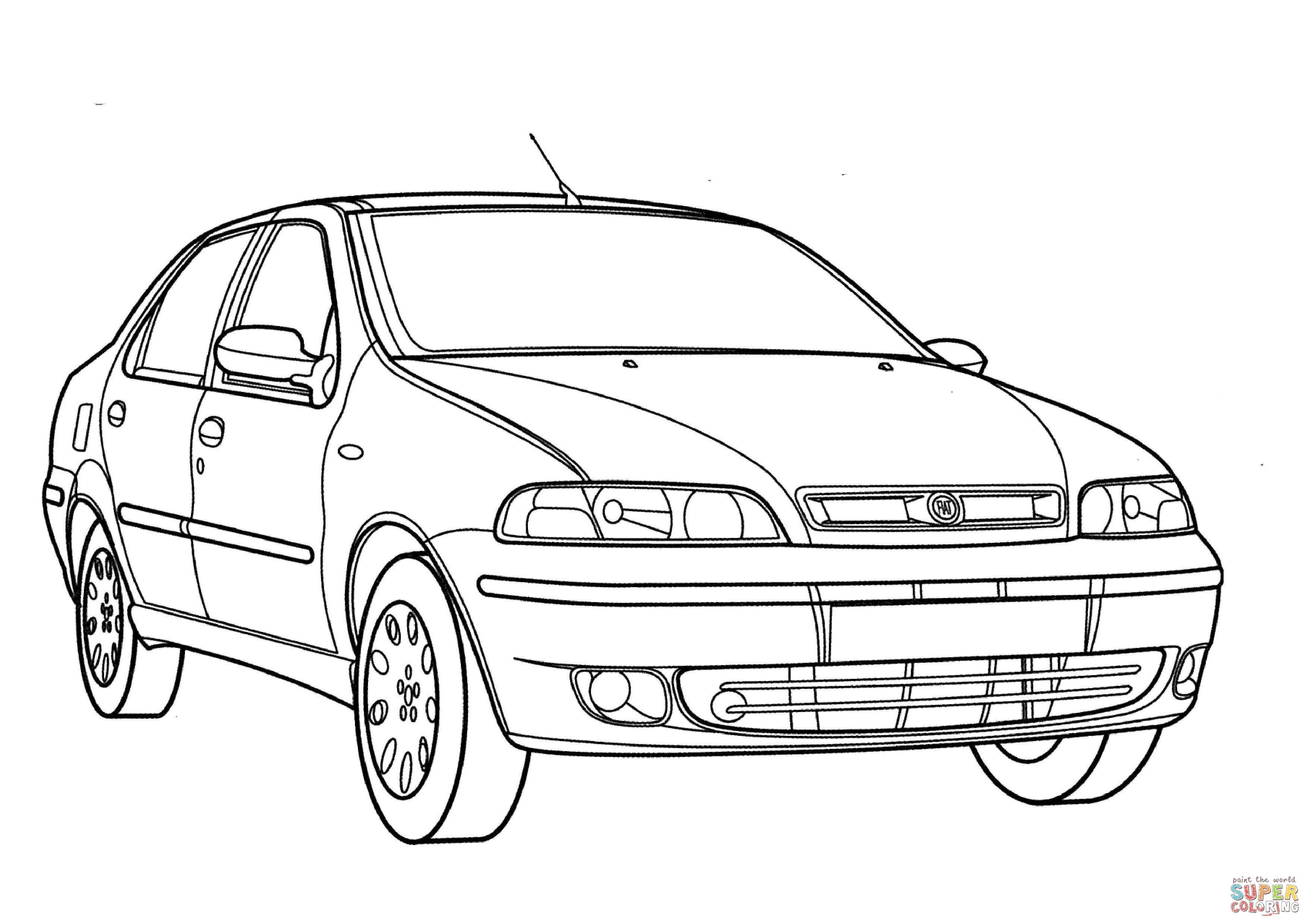 Fiat 500 Blueprint Sketch Coloring Page