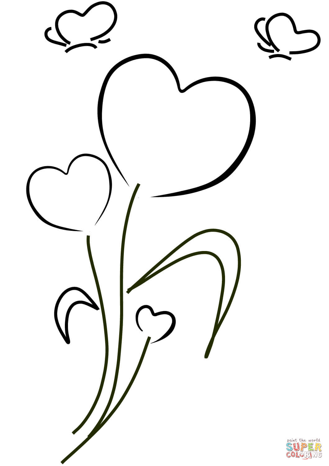 Hearts And Flowers Coloring Page Free Printable Coloring Pages