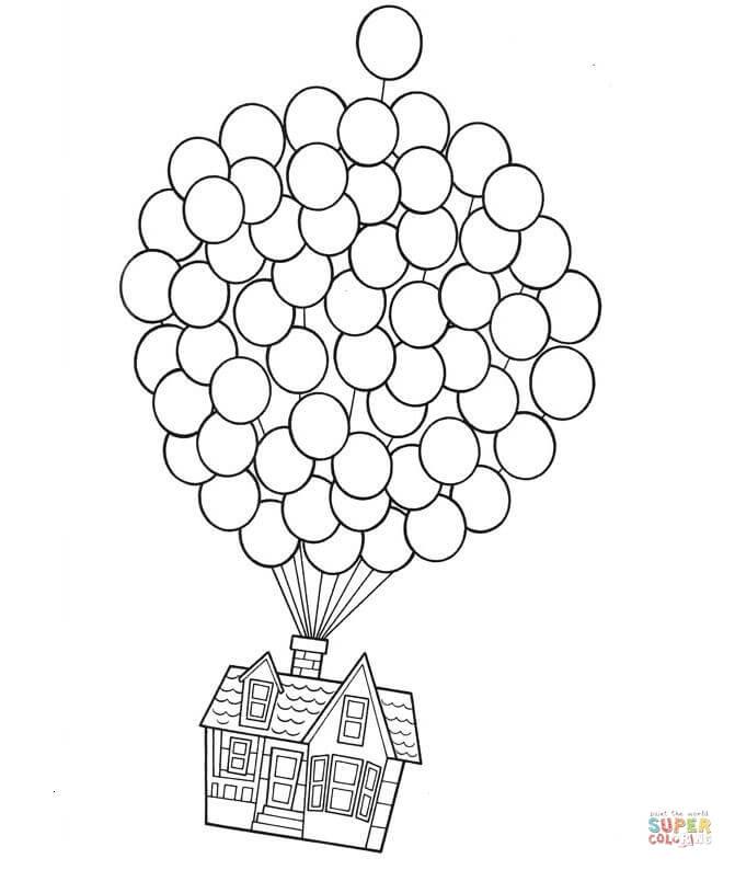 Disegno di Casa sui palloncini da colorare  Disegni da colorare e stampare gratis