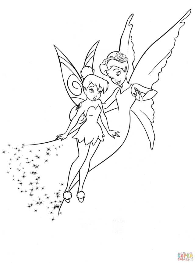 Shy Tinkerbell and Queen Clarion coloring page  Free Printable