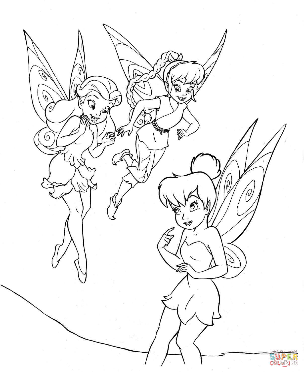 Tinkerbell With Friends Coloring Page