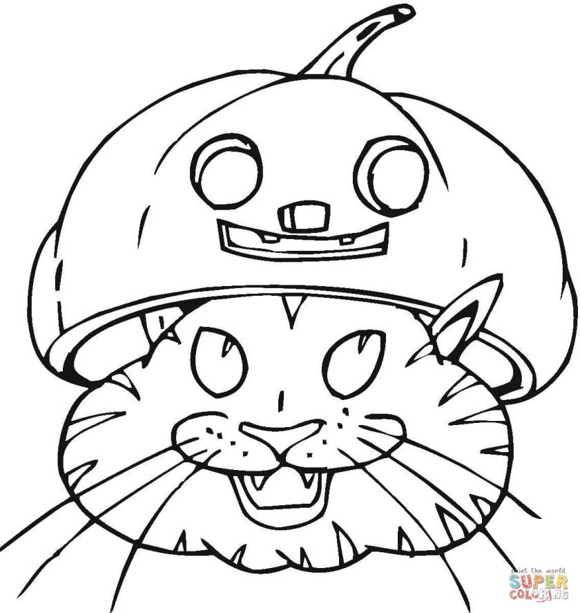 black cat in jacko'lantern coloring page  free