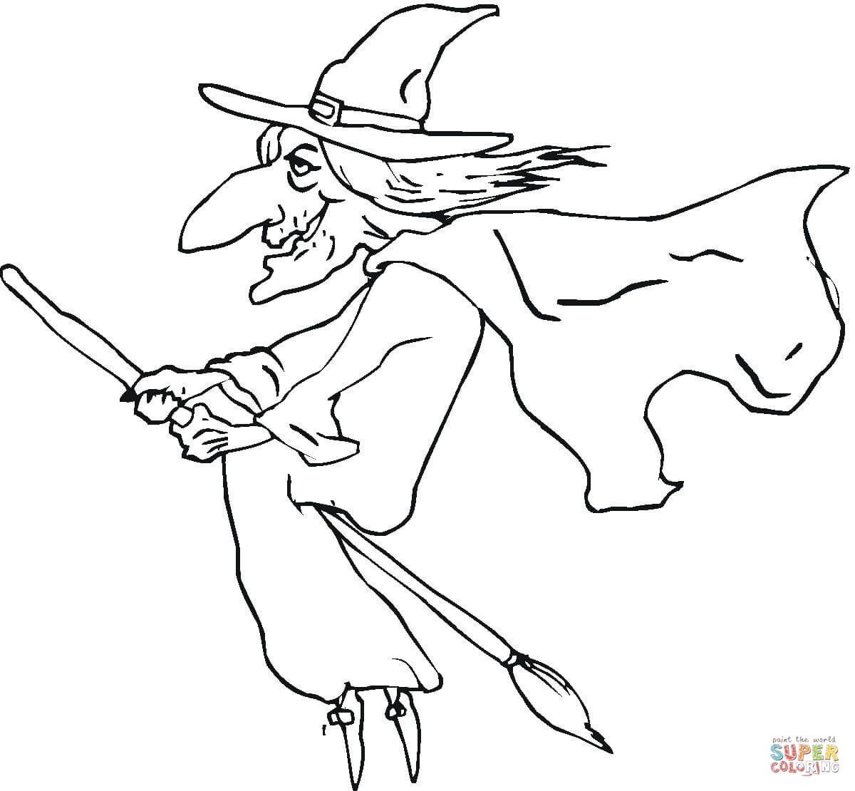 Ugly Old Witch Coloring Page