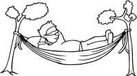 Dibujo de Hombres descansando en una hamaca para colorear