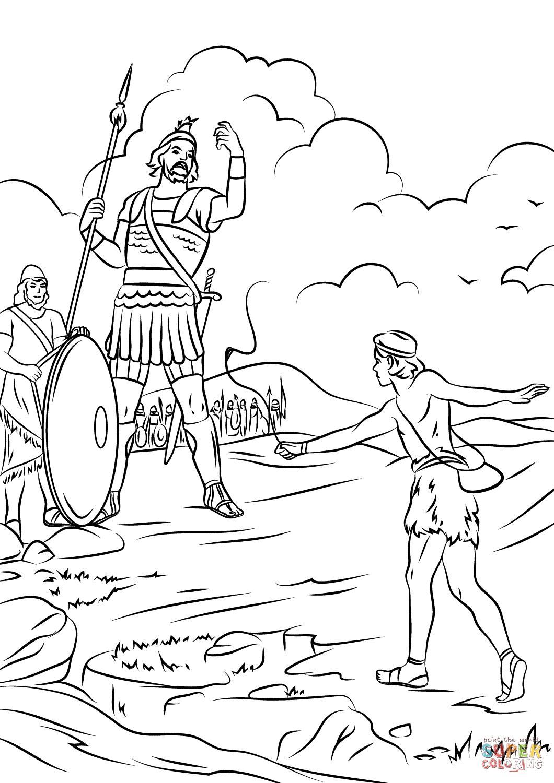 Ausmalbild David Gegen Goliath