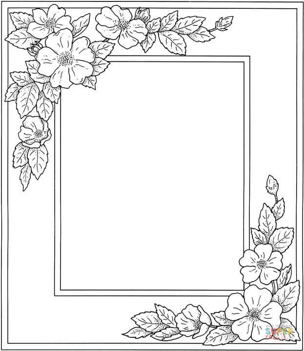Photo Frame With Flowers coloring page  Free Printable Coloring Pages