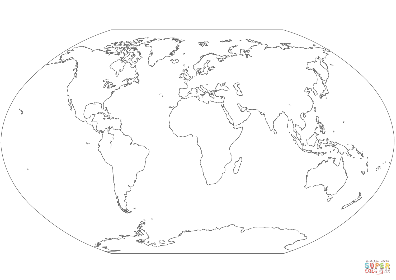 Desenho De Mapa Mundi Para Colorir