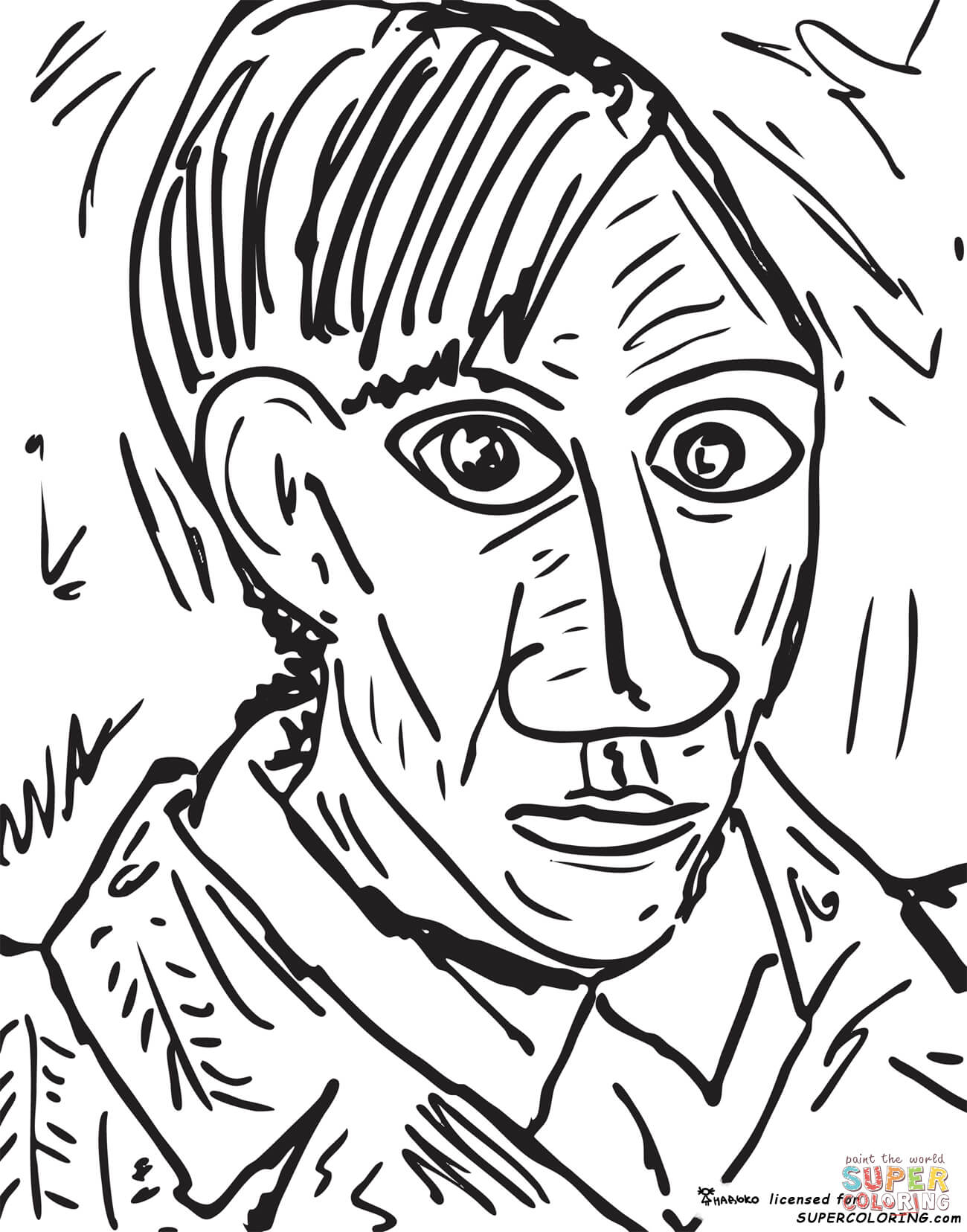Self Portrait By Pablo Picasso Coloring Page