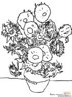 Sunflowers By Vincent Van Gogh coloring page   Free ...