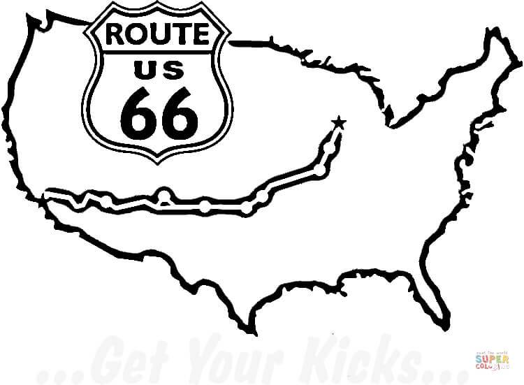 Coloriage Clbre Route 66 Des Tats Unis Coloriages