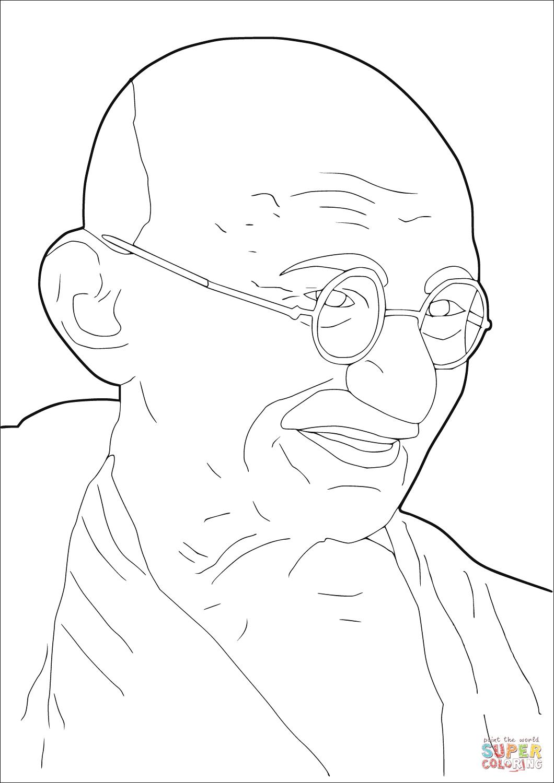 Mahatma Gandhi Coloring Page