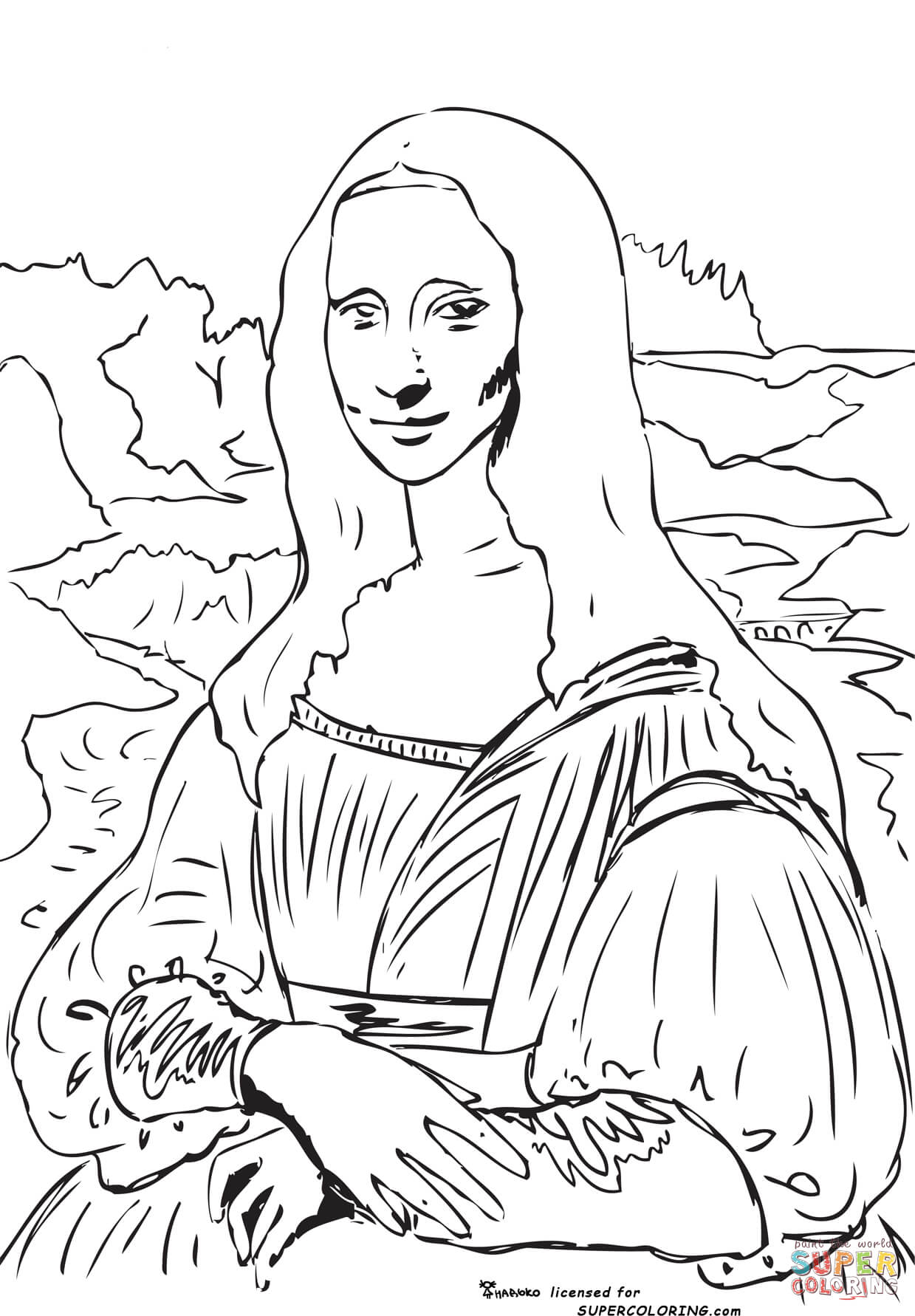 Mona Lisa La Gioconda By Leonardo Da Vinci Coloring Page