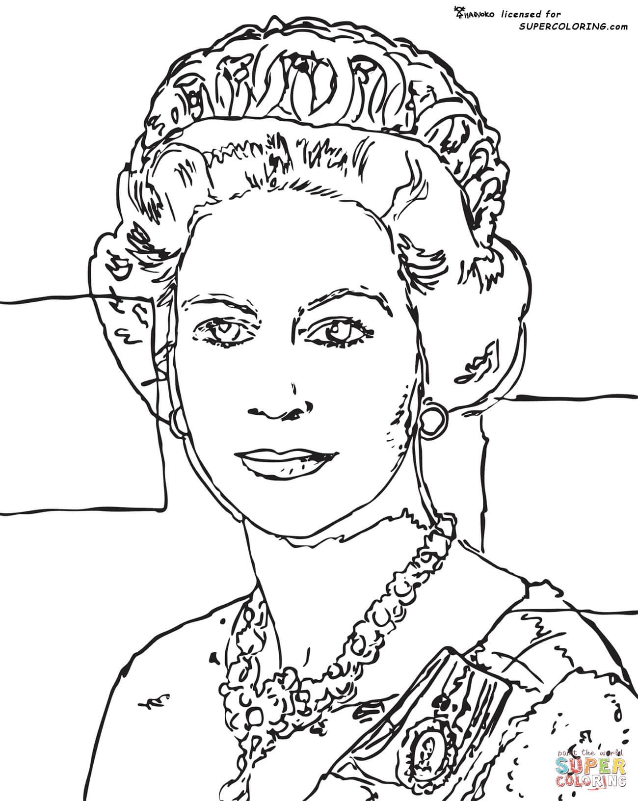 Queen Elizabeth By Andy Warhol Coloring Page Free Printable