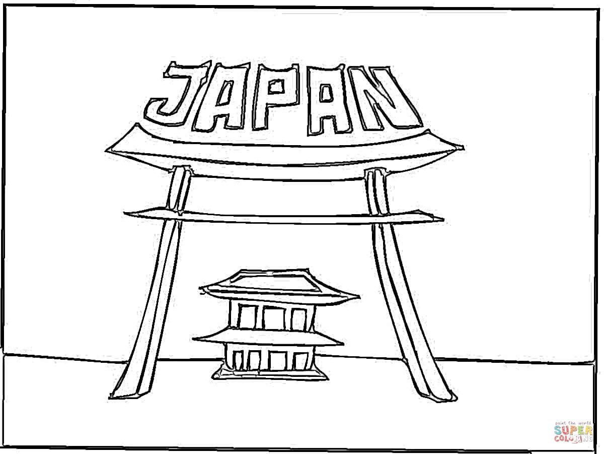 Ausmalbild Japanisches Tor