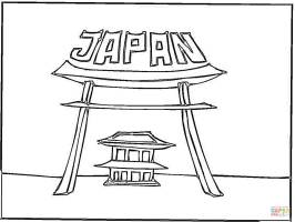 Japan gate coloring page   Free Printable Coloring Pages