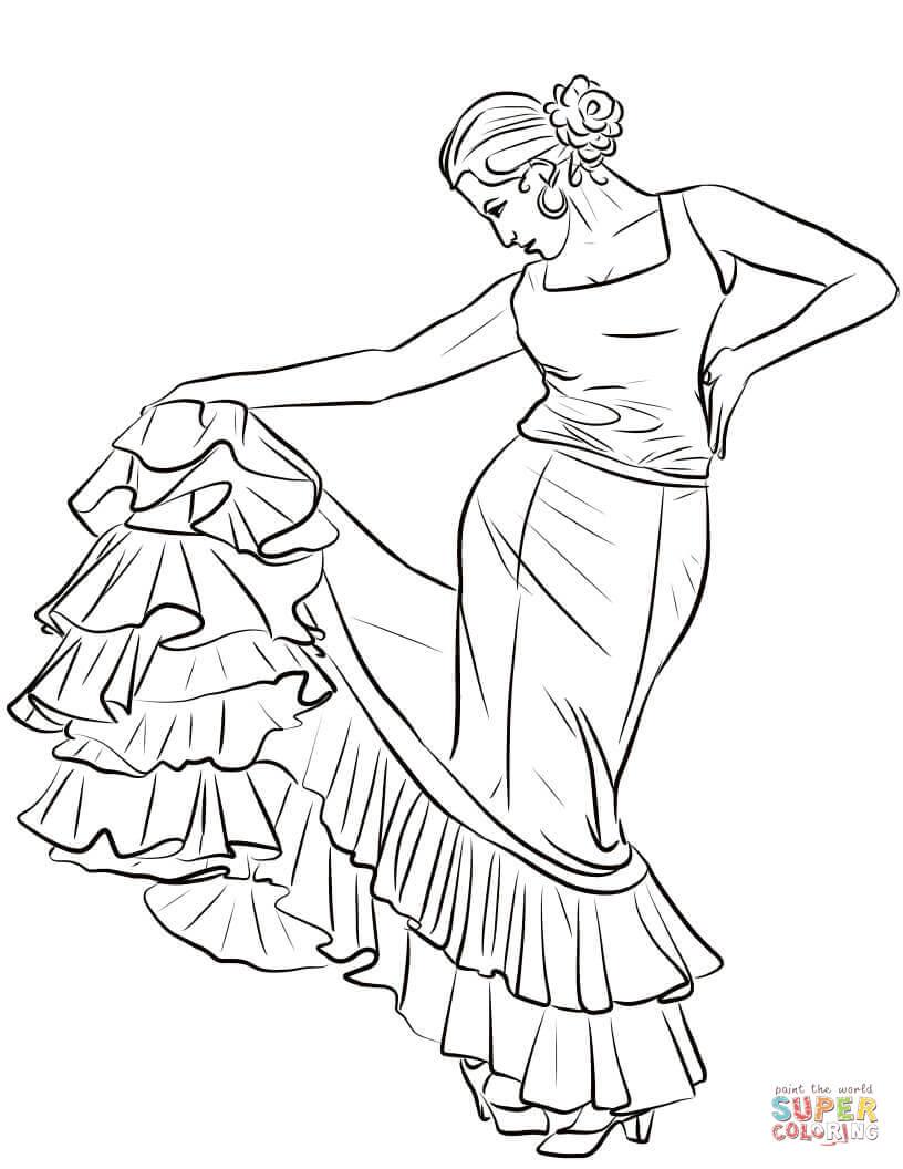 Flamenco Coloring Sheets Sketch Coloring Page