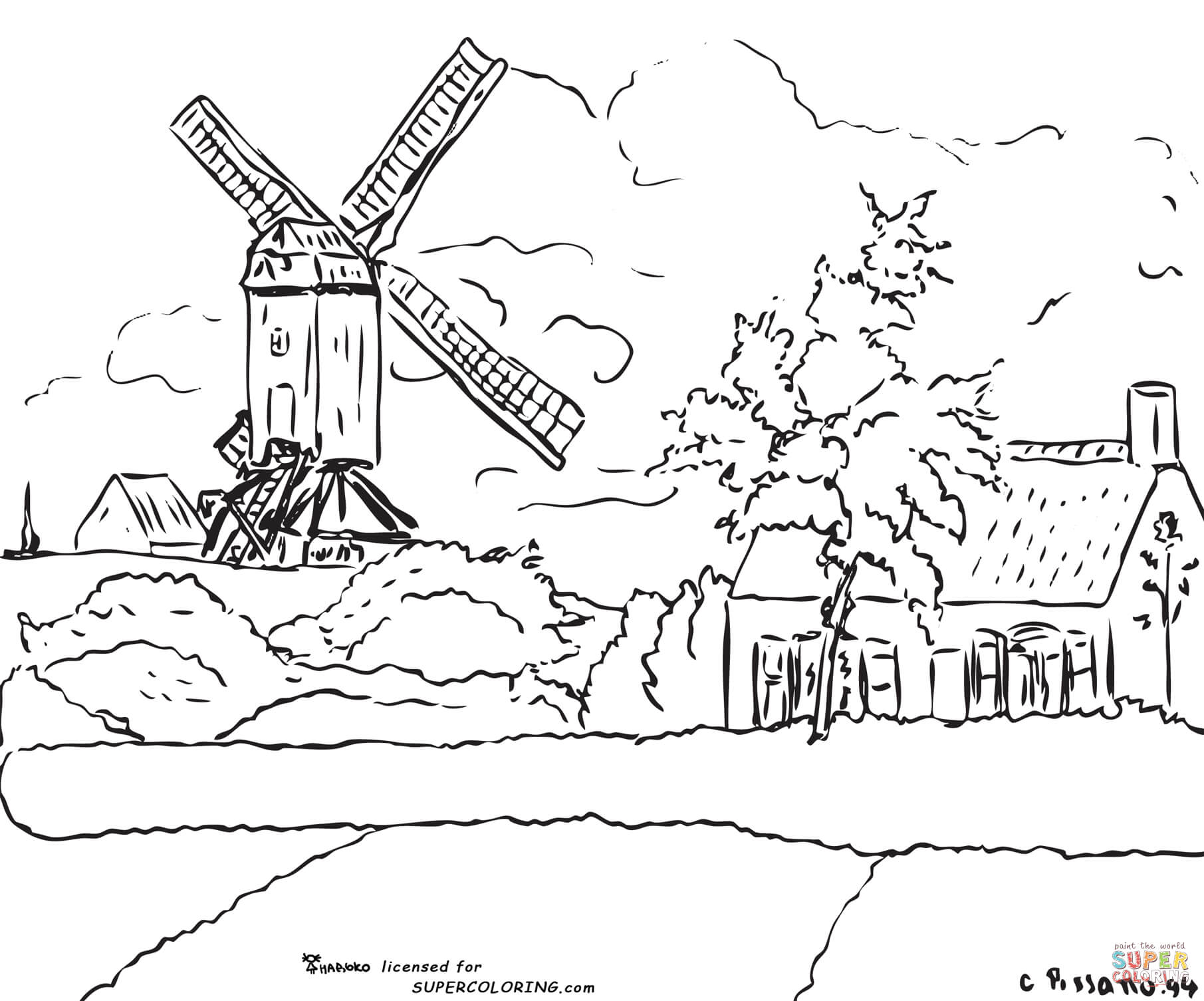 Windmill At Knock Belgium By Camille Pissarro Coloring