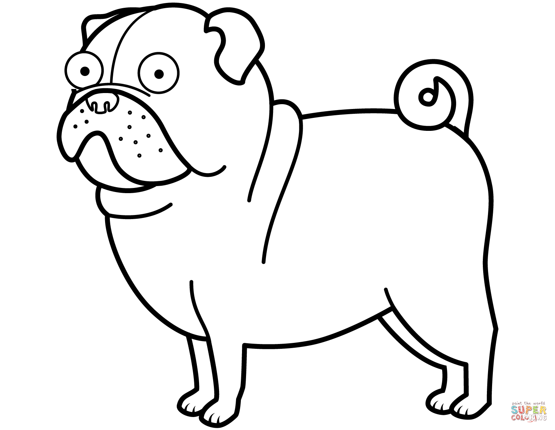 Kolorowanka Pies Mops