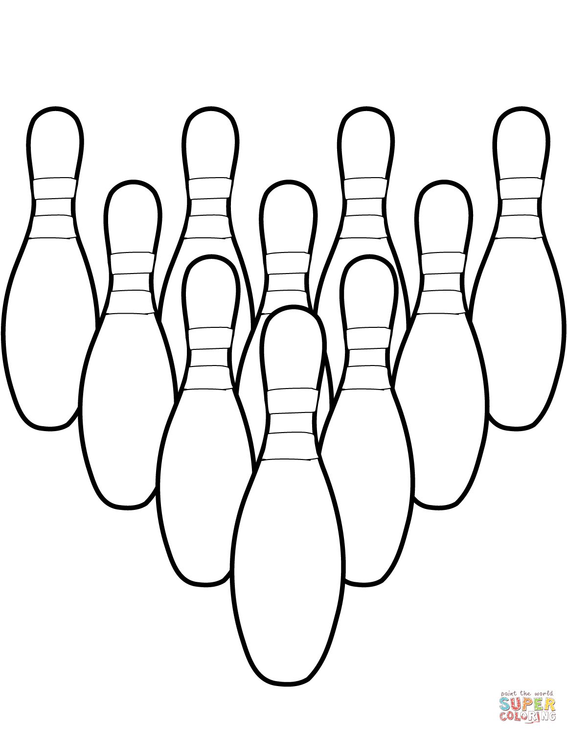 Ten Bowling Pins Coloring Page