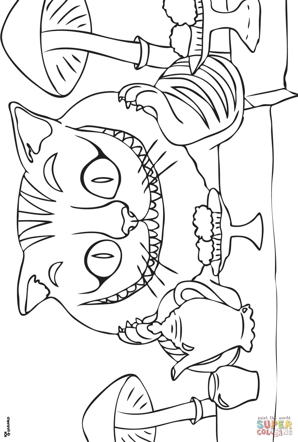 Cheshire Cat Coloring Page Free Printable Coloring Pages