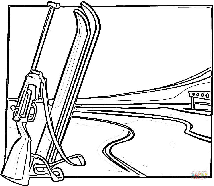 Equipment For Biathlon Coloring Page Free Printable