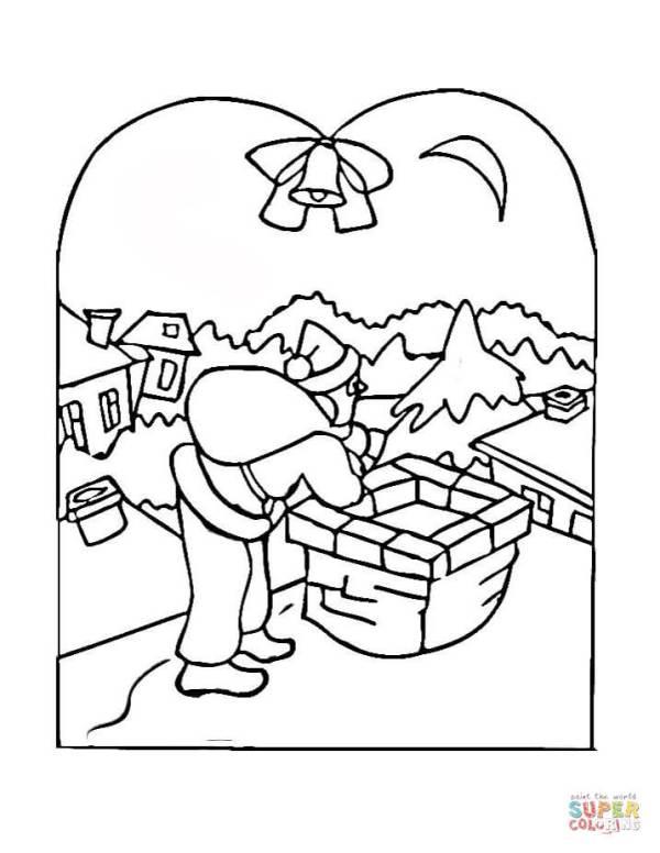 Christmas Village Scene coloring page Free Printable